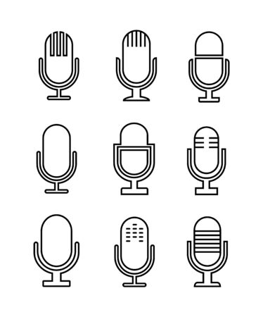 Microphone set icons thin line.