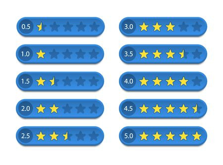 Rating stars, feedback and customer review