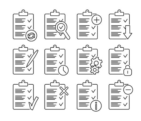 Set of checklists thin line, clipboard icons.