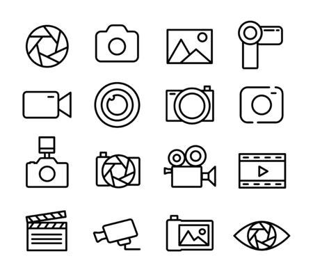 Photo and video set icons thin line, photography icon. Ilustracja