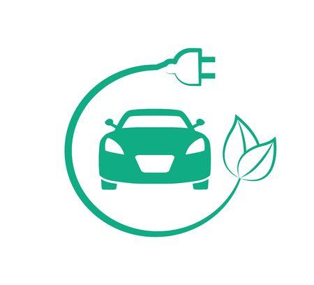 Electric car icon, ecological car Ilustracja