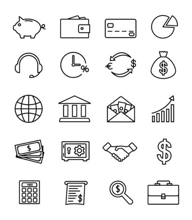 Set of modern banking icons thin line, financial and money icons.