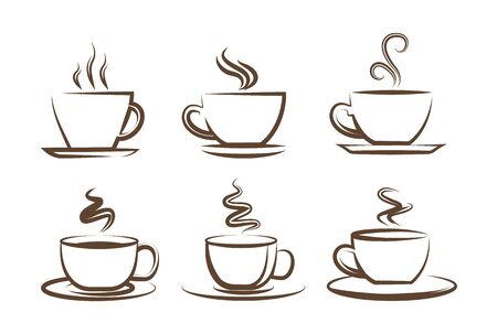 Coffee icons, a cup of coffee,  a coffee shop.