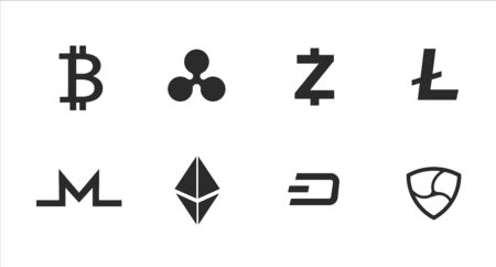 Cryptocurrency Icons, bitcoin vector illustration