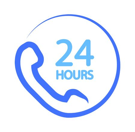 24 hours icon, call center icon Ilustracja