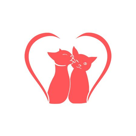 The cats are kissing, icon for the day of lovers. Ilustracja