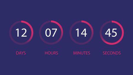 User interface countdown clock vector.