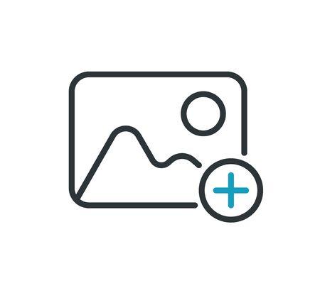 Add photo line icon, vector illustration