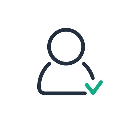 Profile approved line icon with check mark, vector.