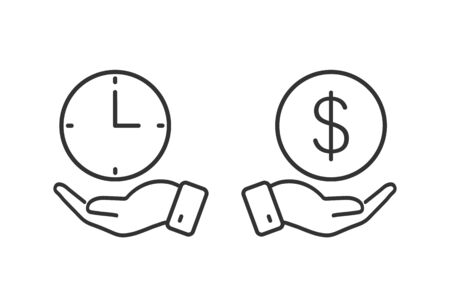 oncept of time is money, dollar in a hand and a clock in a hand. Ilustracja