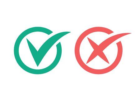 Check mark and cross icon. Ilustracja