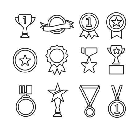 Set of award and prize line icons. Ilustracja