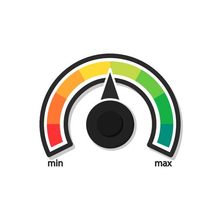 Speedometer with arrow, scale icon