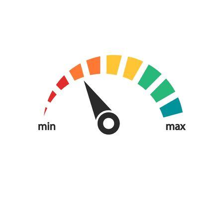 Scale with arrow, speedometer power levels Ilustracja