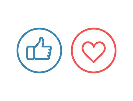 Thumbs up and heart line icons, vector