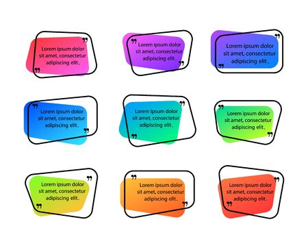 Colorfull quote frames with quotation marks.