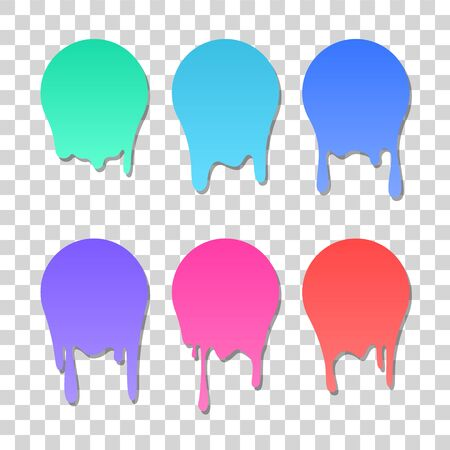 Dripping colorful paint icon set, vector