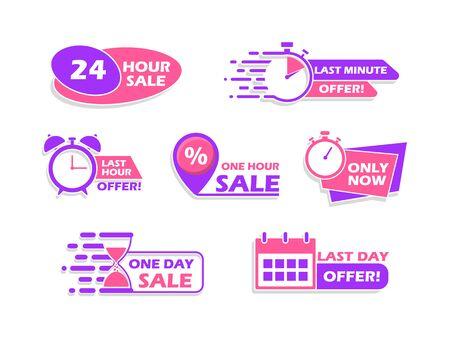 Set of advertising banners, countdown time icons, vector illustration. Vektorgrafik