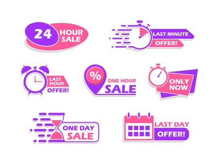 Set of advertising banners, countdown time icons, vector illustration. Ilustração Vetorial