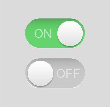 Toggle switch icons, on off buttons, vector