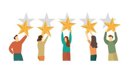 People with stars, customer feedback. Rating five stars Vektorgrafik