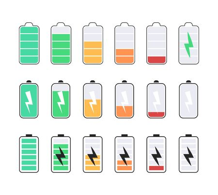 Vector set of battery icons, charge battery level, color battery icons. 向量圖像