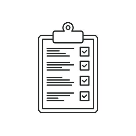 Checklist thin line icon, approved document, vector illustration