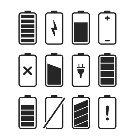 Set of charge battery icons, charge level phone. 向量圖像