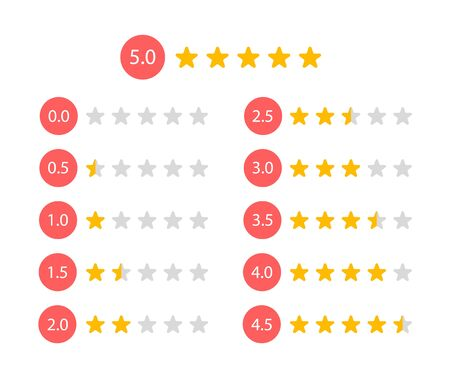 Rating stars 5 to 0 stars, feedback and customer review, vector illustration