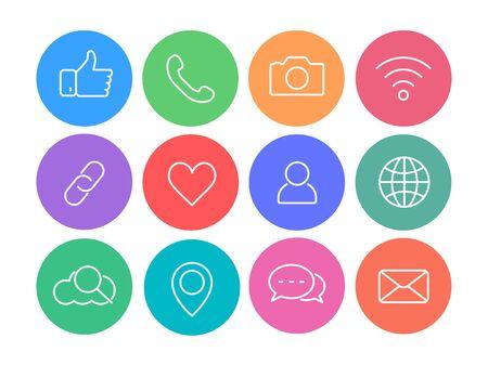 Social network thin line icons, vector web icons. Illusztráció