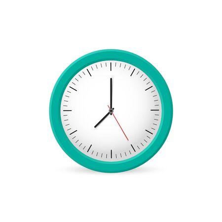 Clock wall on the white background, time. Vector illustration Vektorgrafik