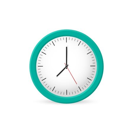 Clock wall on the white background, time. Vector illustration Векторная Иллюстрация
