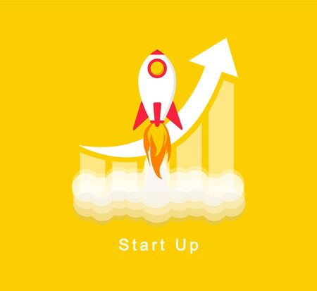 Start Up. Rocket launch on a yellow background. Startup business or your project. Vector flat design.