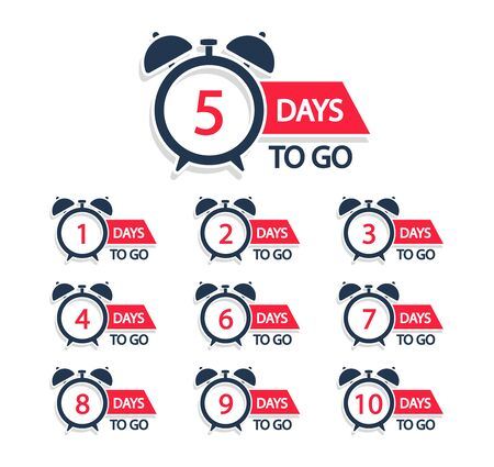 Countdown days to go badges. Numbers days left. Vector