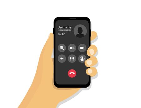 Hand holds a phone with an incoming call. Received incoming call interface. Vector