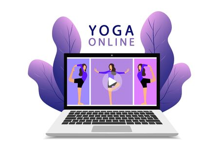Yoga online on a laptop. Yoga class online. Fitness lesson online. Modern web page.