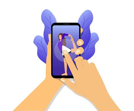 Yoga online video on a smartphone. Hands holding a phone. Yoga class online.