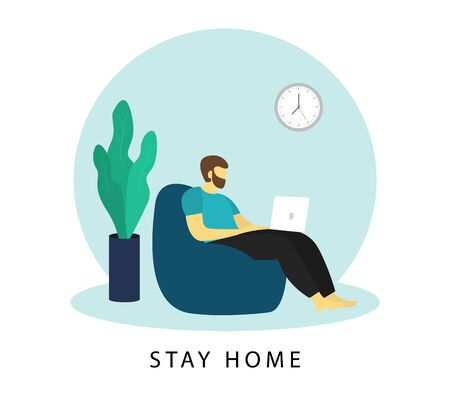 Stay home banner. Man works at a laptop. Freelance. Remote work. Vector illustration. Ilustrace