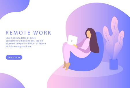 Remote work and freelance. Web page. Female works at a laptop. Vector