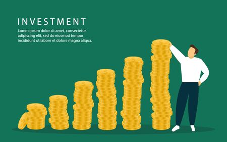 Investments. A man stands near his profit. Vector illustration Ilustrace
