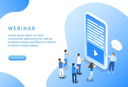 Webinar. Online courses. Isometric. Landing page for web sites. Vector Ilustrace