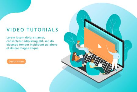 Video tutorials. Online courses and education. Isometric. Landing page for web sites. Vector Vettoriali
