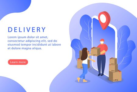 Delivery service. Courier home delivery. Safe shipping. Isometric. Landing page for web sites. Ilustrace