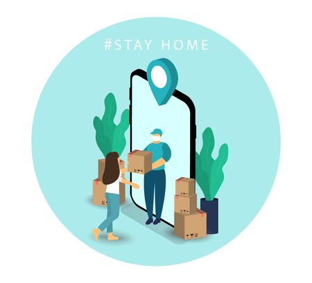Delivery service. Courier home delivery. Safe shipping. Quarantine. Stay at home. Vector Ilustrace