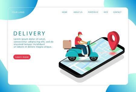 Delivery service. Delivery man on a scooter in a mask. Isometric. Landing page.