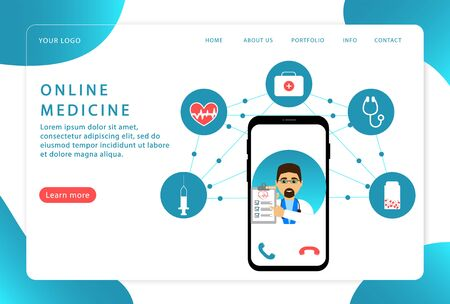 Online medicine and medical consultation. Online doctor. Modern web pages for web sites.