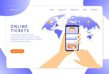 Online tickets. Booking ticket. Landing page. Modern web pages for web sites.