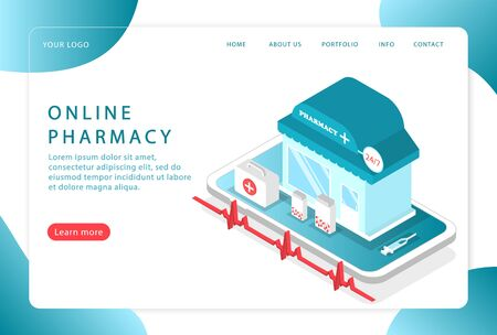Online pharmacy. Online healthcare. Landing page. Modern web pages for web sites.