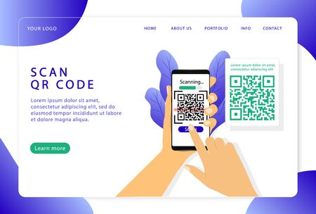 Scan QR code.Verification. Landing page. Modern web pages for web sites.
