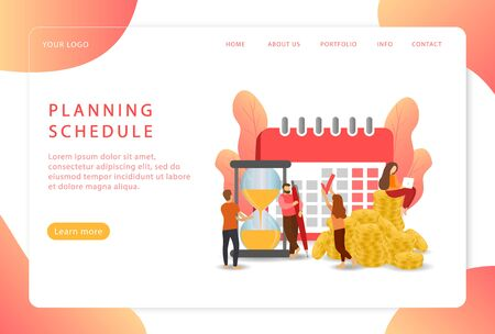 Planning schedule. Calendar organizer. Work planning. Landing page. Modern web pages for web sites. Ilustrace